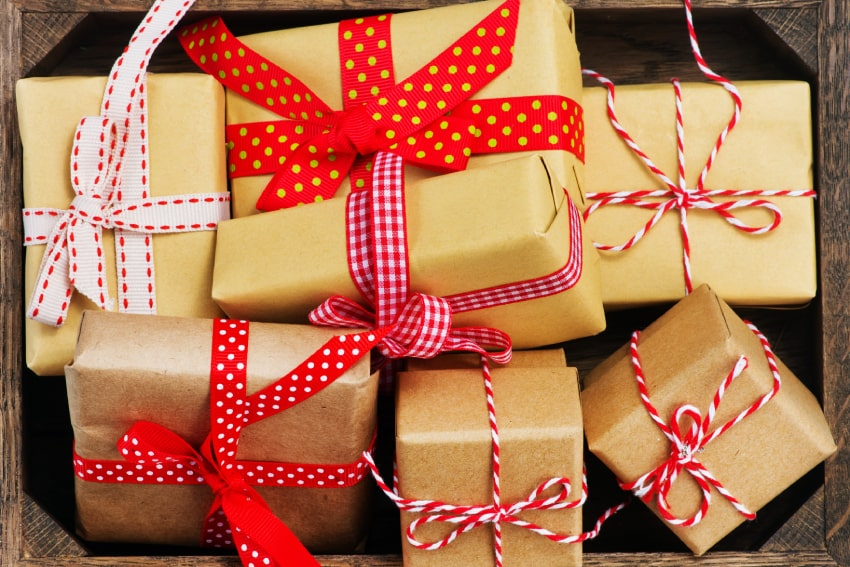 A pile of gifts together. Gift basket ideas Brymark